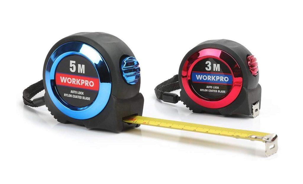 WORKPRO メジャー コンベックス ロックタイプ ストラップとベルトクリップ付き 耐衝撃性 オートロック機能付き メートル目盛 幅16mm 3mと19mm幅 5m 2本組